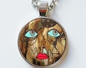 Art Pendant - Face Pendant - Brown Pendant - Boho Pendant - Portrait Pendant - Raw Art - Outsider Art - Folk Art Jewelry