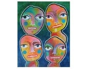 Outsider Art -Surreal Faces - Quirky Faces Art - Art Brut - Bold Bright Colors - Colorful Paintings - Colourful Art -  Beatrice Artist
