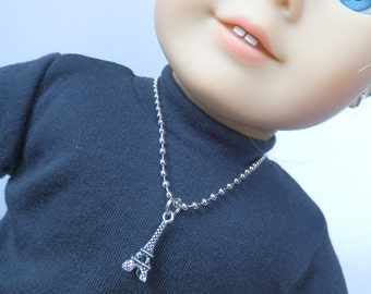 "18"" Doll Jewelry Made to fit  18"" Girl Doll - Paris Eiffel Tower Charm 8"" Necklace"