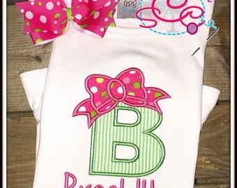 Personalized Bow Initial Applique Bodysuit/Shirt