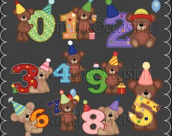 Birthday Bears by Number - CU Clipart