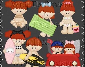 Summertime Fun Redhead Kids Set2 - CU Clipart