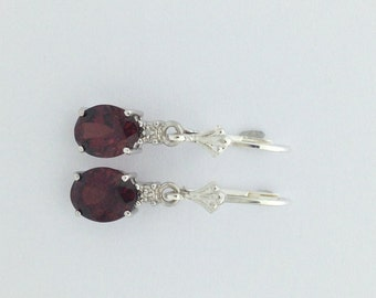 Natural Garnet with Natural Diamond Dangle Earrings 925 Sterling Silver