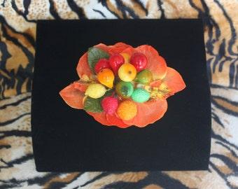 Tropical Orchid Hairflower with vintage fruit Carmen Miranda VLV Tiki Oasis Rockabilly