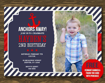 Anchor Birthday Invitation - Printable - FREE pennant banner and thank you card with purchase