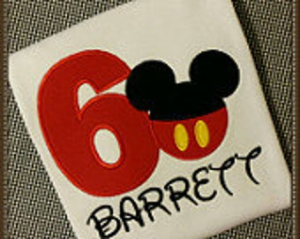 Mickey Mouse pants birthday Number appliqued T-shirt. This shirt can be done in numberw 1-9.  Inspired by Disney.