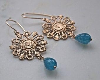 Bronze and Kyanite Earrings- Gold and Blue Earrings