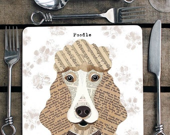 Poodle personalised placemat/coaster