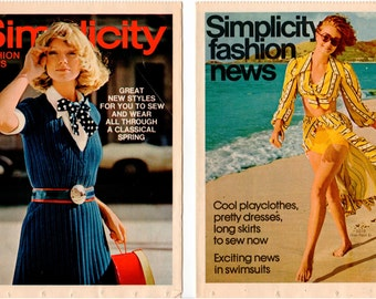 Two Vintage Pattern Counter Booklets - Simplicity Fashion News - 1972