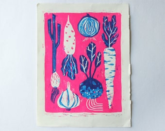 Know Your Roots - Blue/Magenta Colorway - Linoleum Block Print, Vegetable Farmer's Market Art Print, Bright Colors