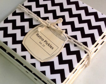 Ceramic Tile Coasters - Black & White Chevron 052