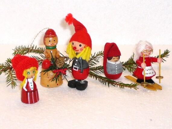 alte schwedische weihnachten wichtel satz von 5 schwedische. Black Bedroom Furniture Sets. Home Design Ideas