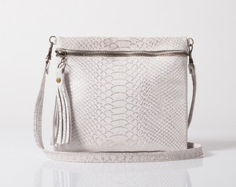 White Leather clutch bag, White purse, Leather wallet, White leather bag, SALE!