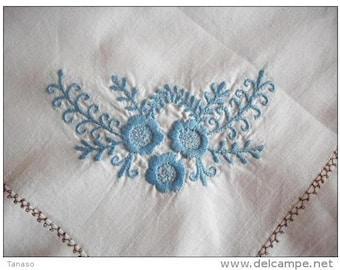 "Vintage hand embroidered tablecloth  53 1/8"" x 30 1/4"""