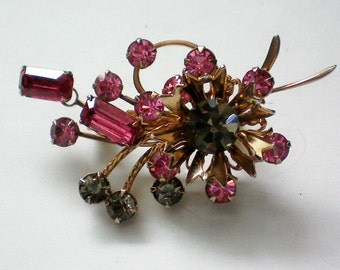 Multi Dimensional Pink and Gray Rhinestone Brooch