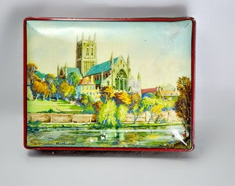 Blue Bird Toffee Tin Worcester Cathedral England 1940-1950's Vintage Box Storage