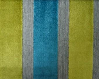 Modern Velvet Stripe Teal Fabric