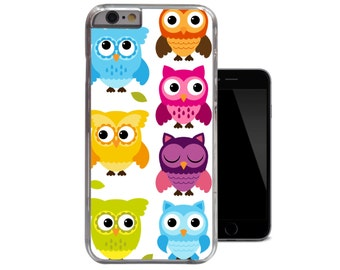 Owls iPhone 6 Case Fun Blue Yellow Pink Funky iPhone 5c Case Bright Colourful Green Orange iPhone 5 5s Case Cute Owl iPhone 4 4s Case (A231)