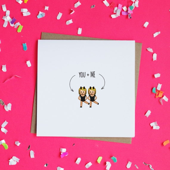 Items similar to You and Me Emoji Twins Greeting Card Best – Valentines Cards for Best Friends