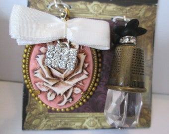 Pendant set with glass accents Rose cameo