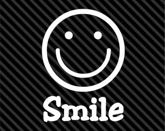 SMILE Smiley Face vinyl decal car window laptop sticker - smiley happy face Sticker Decal - Sizes and Colors