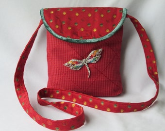 Shoulder Bag - Red with Colorful Dots - Dragonfly Pendant - Gift for Her