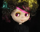 Colorful short Afro Curly Wig Blythe and American Girl Dolls LAST ONE