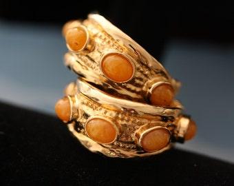 Lovely Vintage Kenneth Jay Lane Citris Orange and Goldtone Hoop Earrings