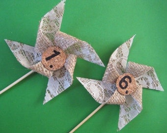 Wedding Table Numbers Burlap pinwheel 1-10,rustic wedding table numbers, party.