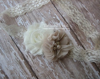 Ivory headband, neutral headband, beige headband, cream headband, tan headband, lace headband, baby headband, child headband, neutral clip
