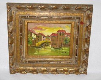 Sale Price! Vintage original oil painting framed signed Zavatti Venic Italy canal scene gold wood frame