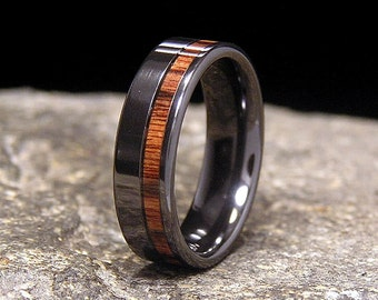 brazilian kingwood wide offset wood inlay black zirconium wedding band or ring