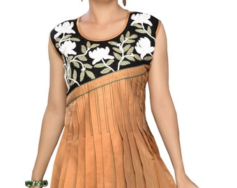 New Sandal Brown Color Tunic Top Mini Dress With Sleeveless