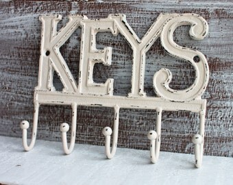 Ivory Key Holder, Metal Key Rack, Entryway Key Hooks, Wall Mount Key Hanger Cast Iron Wall Hooks, Realtor Closing Gift, New Home Gift