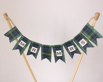 Wedding cake topper for 4 inch cake top tier, Mr and Mrs Campbell tartan cake bunting for Scottish Wedding, cake banner, cake flags