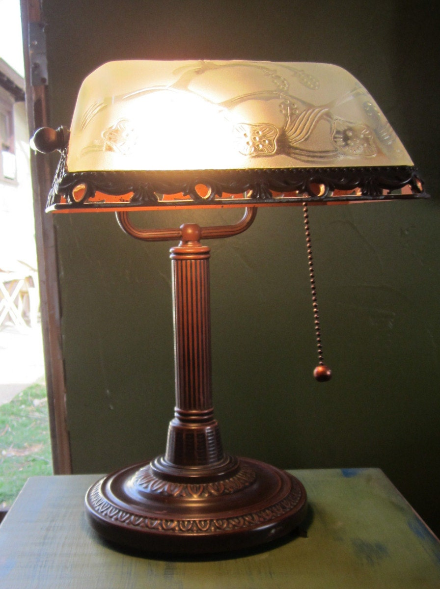 Vintage Banker S Desk Lamp Clear Glass By Funandvintagefinds