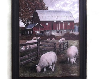 Sheep and Barn, Country Primitive Decor, Shiloh Creek Farm, Art Print, Wall Hanging, Handmade, 28X22, Custom Wood Frame, Made in the USA