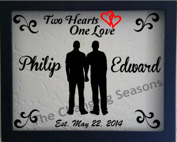 Personalised Wedding Gifts For Gay Couples : Personalized gay WEDDING, male or female couple frame, Handmade to ...