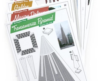 Build Your Own San Francisco architectural paper model postcards