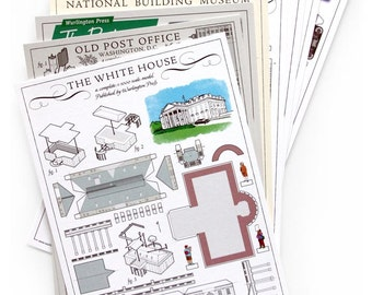 Build Your Own DC architectural paper model postcards
