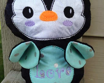 Plush Handmade Penguins with Personalized Embroidered Tummy