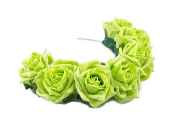 Green Rose Flower Crown, Green Rose Headband, Green Flower Crown, Flower Crown, Rose Crown, Flower headband, Festival Crown,Boho Headband