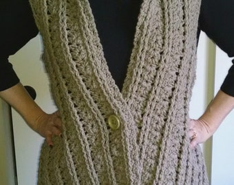 Comfy Vest in Taupe. Women's Crochet Clothing Accessories