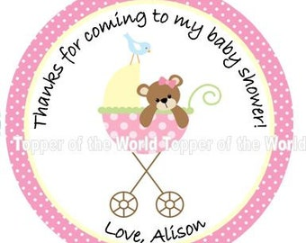 12 Personalized Girl Pink baby stroller and teddy bear Baby Shower  or Birthday Party Favor Thank You Tags OR  Stickers You Choose Thanks