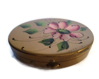 Vintage Hand Painted Brass Mirrored Powder Compact