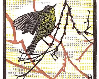 Nashville Warbler - limited edition letterpress linoleum print