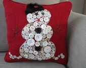 Red Snowman pillow, Christmas decoration, Christmas gift, Holiday decoration, Red Burlap pillow, Christmas cushion, Button snowman decor