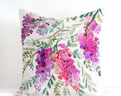 Wisteria Pillow Cover, Designer Watercolor Decorative Cushion Unique Pillow Case, Handmade Pillow Cover Watercolor Throw Pillow Case 20x20