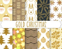 Metallic Gold Christmas Digital Paper Bokeh Star Glitter Ornament Santa Pattern Foil Tree Background Kraft Chalkboard Candy Cane Poinsettia