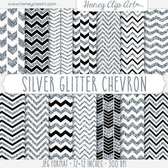Digital Silver Glitter Chevron Background Designs Black
